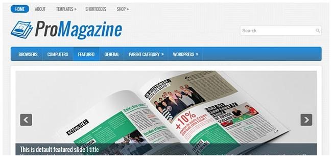 Журнальная, новостная WordPress тема ProMagazine