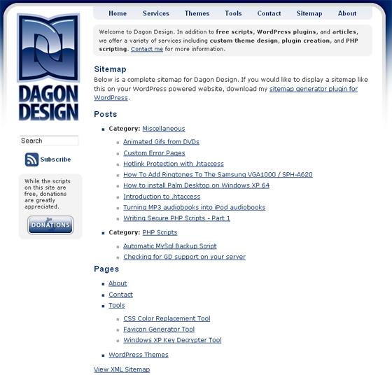 Карта сайта от Dagon Design Sitemap